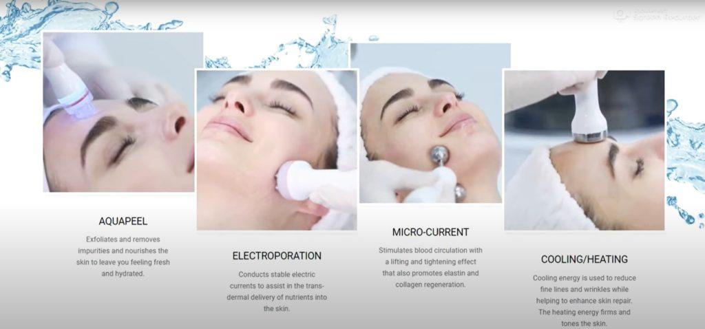 Los cuatro pasos necesarios del tratamiento Aquapure.